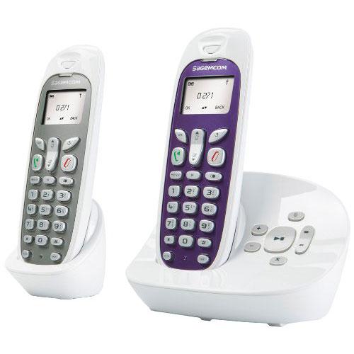 Téléphone sans fil Sagemcom D271A Duo Blanc Téléphone sans fil DECT avec répondeur et combiné supplémentaire (version française)