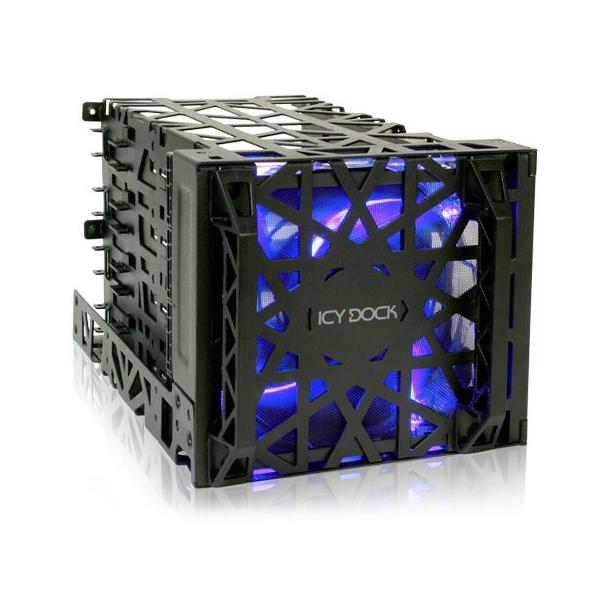 """Rack HDD interne ICY DOCK Black Vortex MB074SP-B Boîtier HDD 4 en 3 avec ventilateur intégré pour disques durs 3.5"""" Serial ATA/SAS/IDE"""