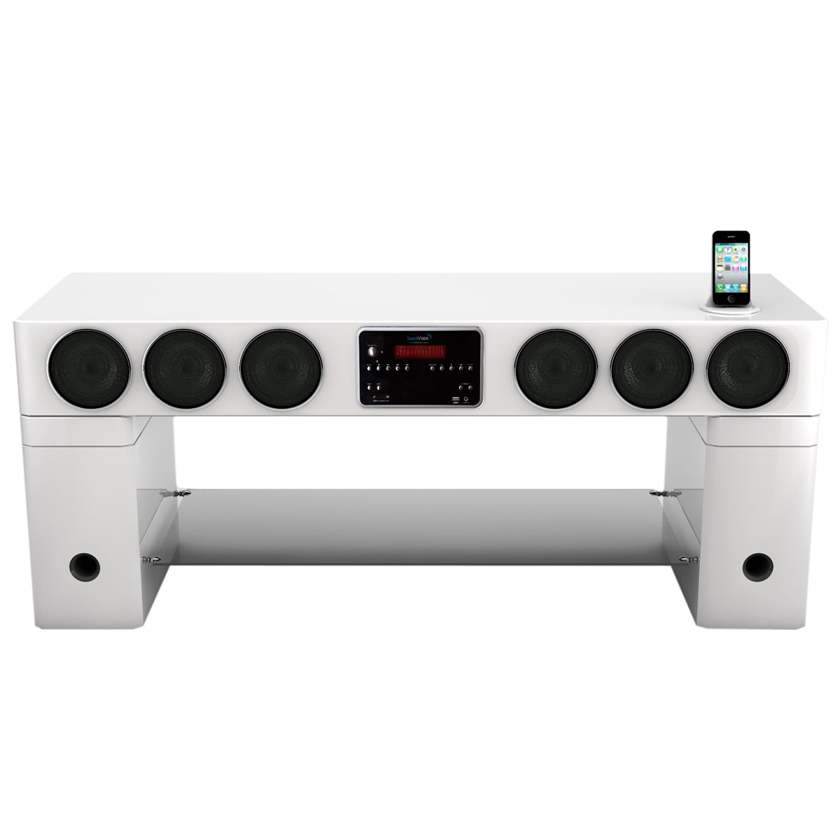 Soundvision Sv 440 Bt Blanc Ensemble Home Cin Ma Soundvision Sur  # Meuble Tv Avec Home Cinema Integre
