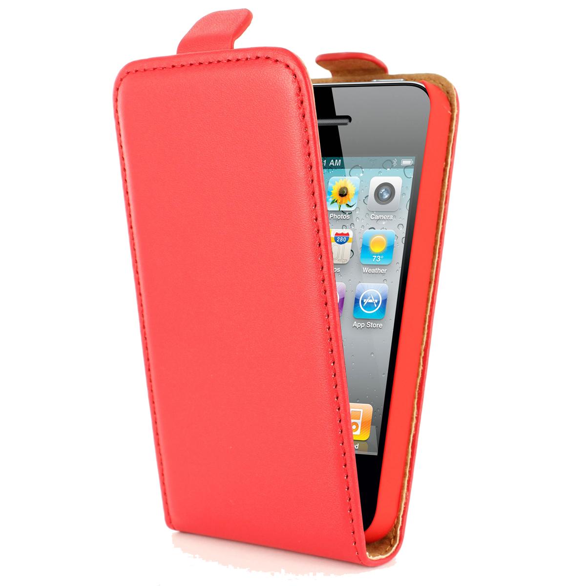Etui téléphone Swiss Charger Etui Cuir Flip Rouge pour iPhone 4/4S Etui en cuir pour iPhone 4/4S