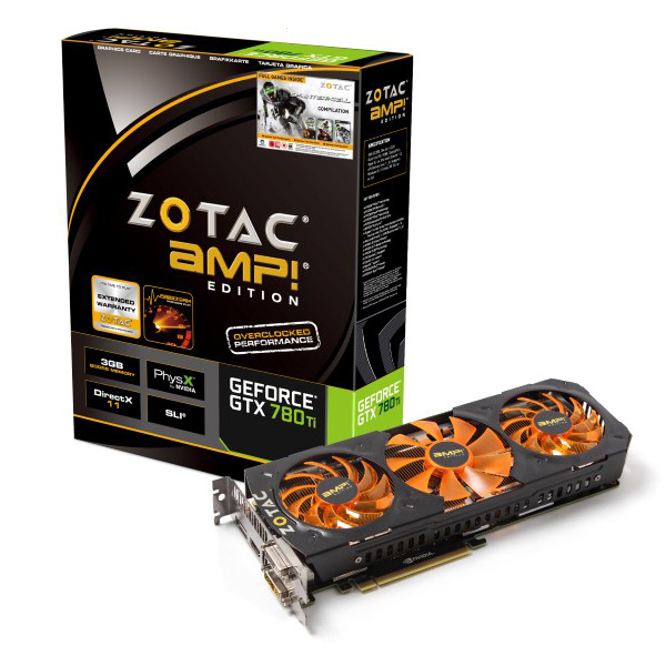 Carte graphique ZOTAC GeForce GTX 780 Ti AMP! Edition 3GB 3072 Mo Dual DVI/HDMI/DisplayPort - PCI Express (NVIDIA GeForce avec CUDA GTX 780 Ti)