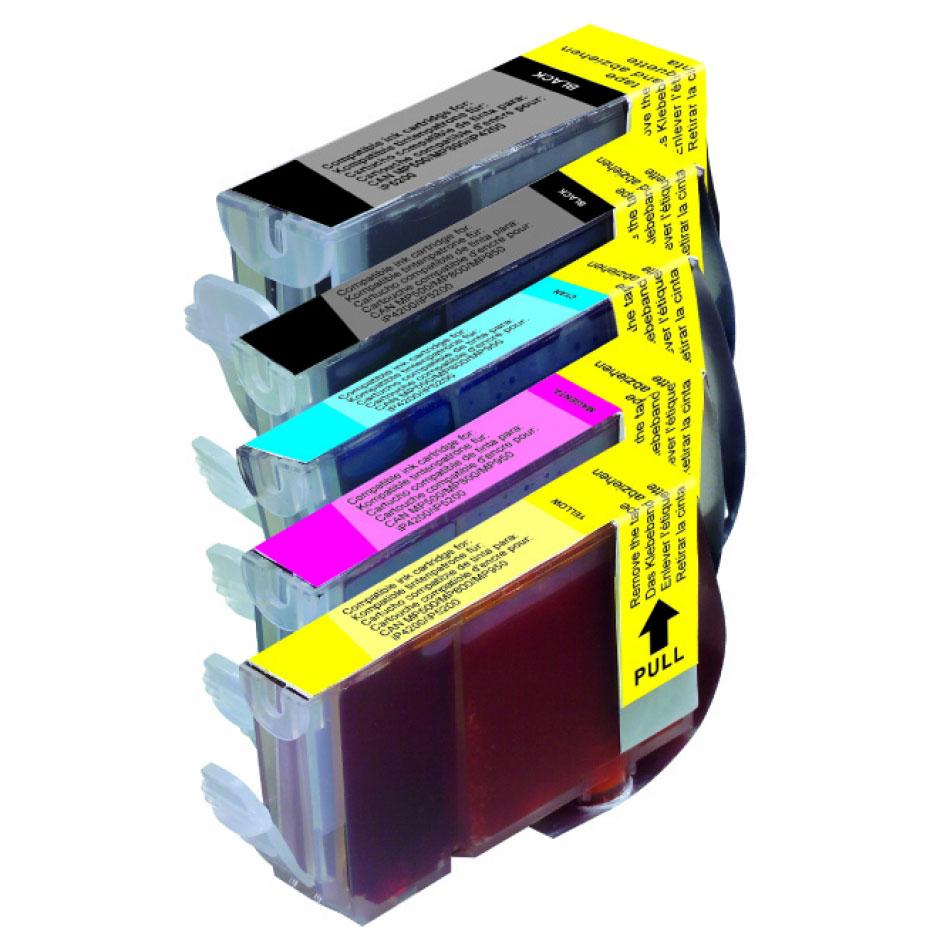 Cartouche imprimante LDLC pack économique compatible Canon PGI-5 BK / CLI-8 (BK + C + M + Y) Lot de 5 cartouches (2 noires + 1 cyan + 1 magenta + 1 jaune)