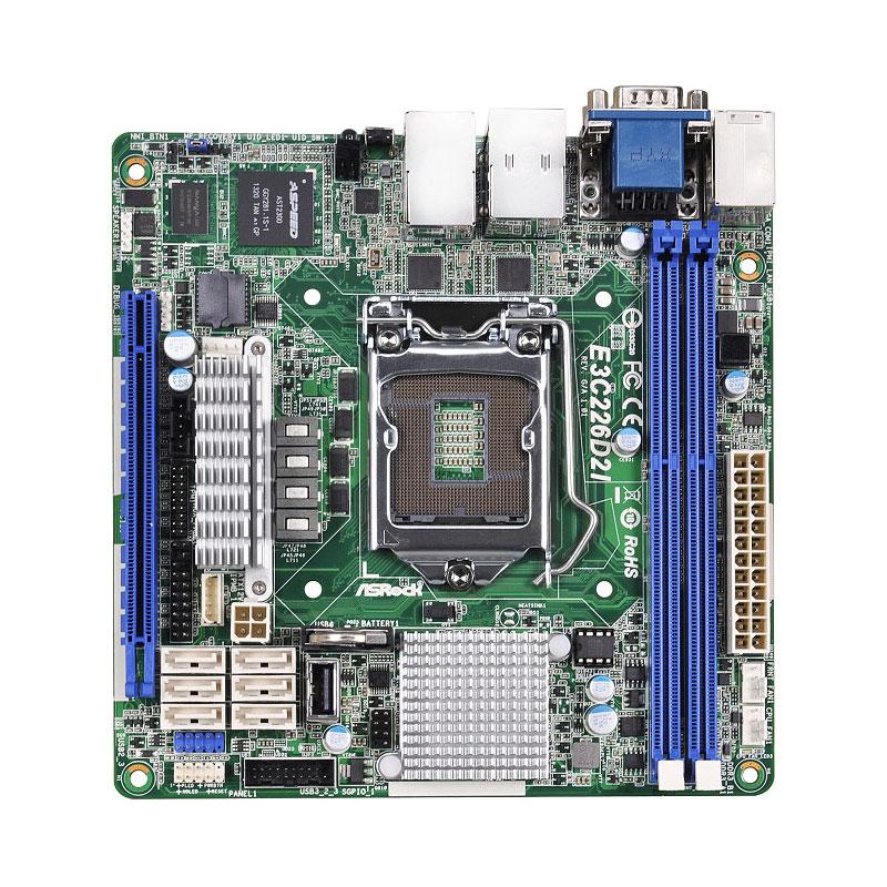 Carte mère ASRock E3C226D2I Carte mère Mini ITX Socket 1150 Intel C226 Aspeed AST2300 - 6x SATA 6Gb/s - 1x PCI Express 3.0 16x - 2 x Gigabit LAN