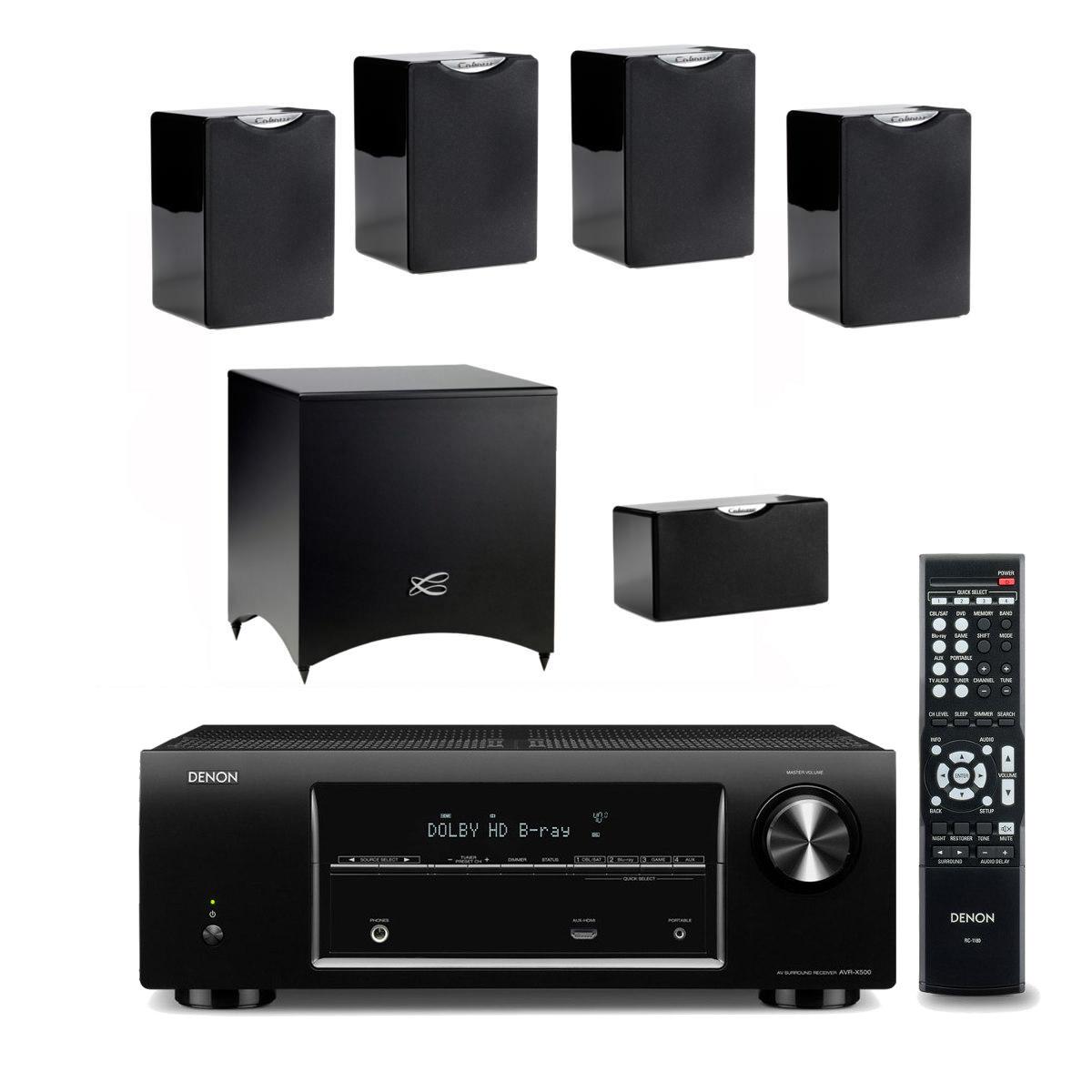 denon avr x500 cabasse pack fidji 5 1 noir ensemble. Black Bedroom Furniture Sets. Home Design Ideas