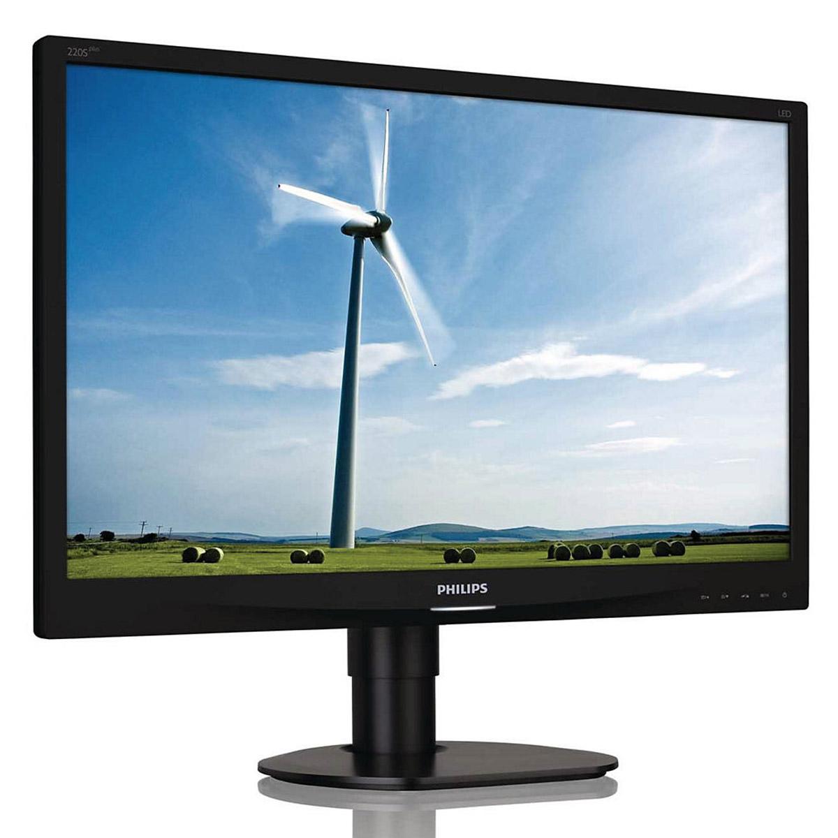 """Ecran PC Philips 22"""" LED - 220S4LCB 1680 x 1050 pixels - 5 ms - Format 16/10 - Pivot - Noir"""