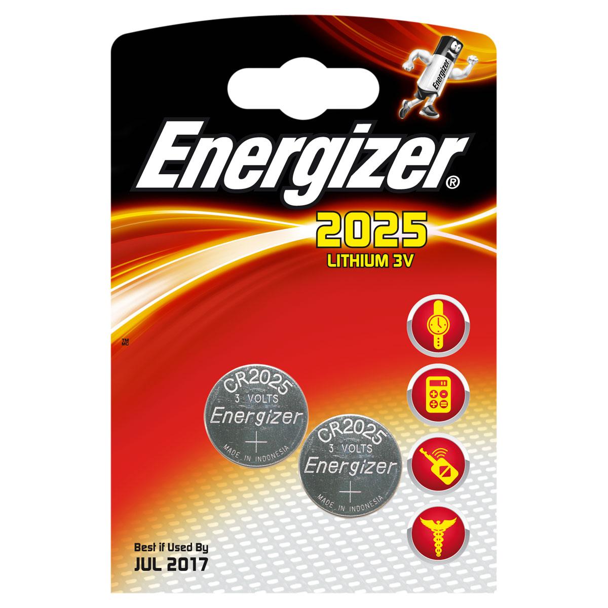 Pile bouton Energizer 2025 Lithium 3V (par 2) Pack de 2 piles boutons CR2025 au lithium