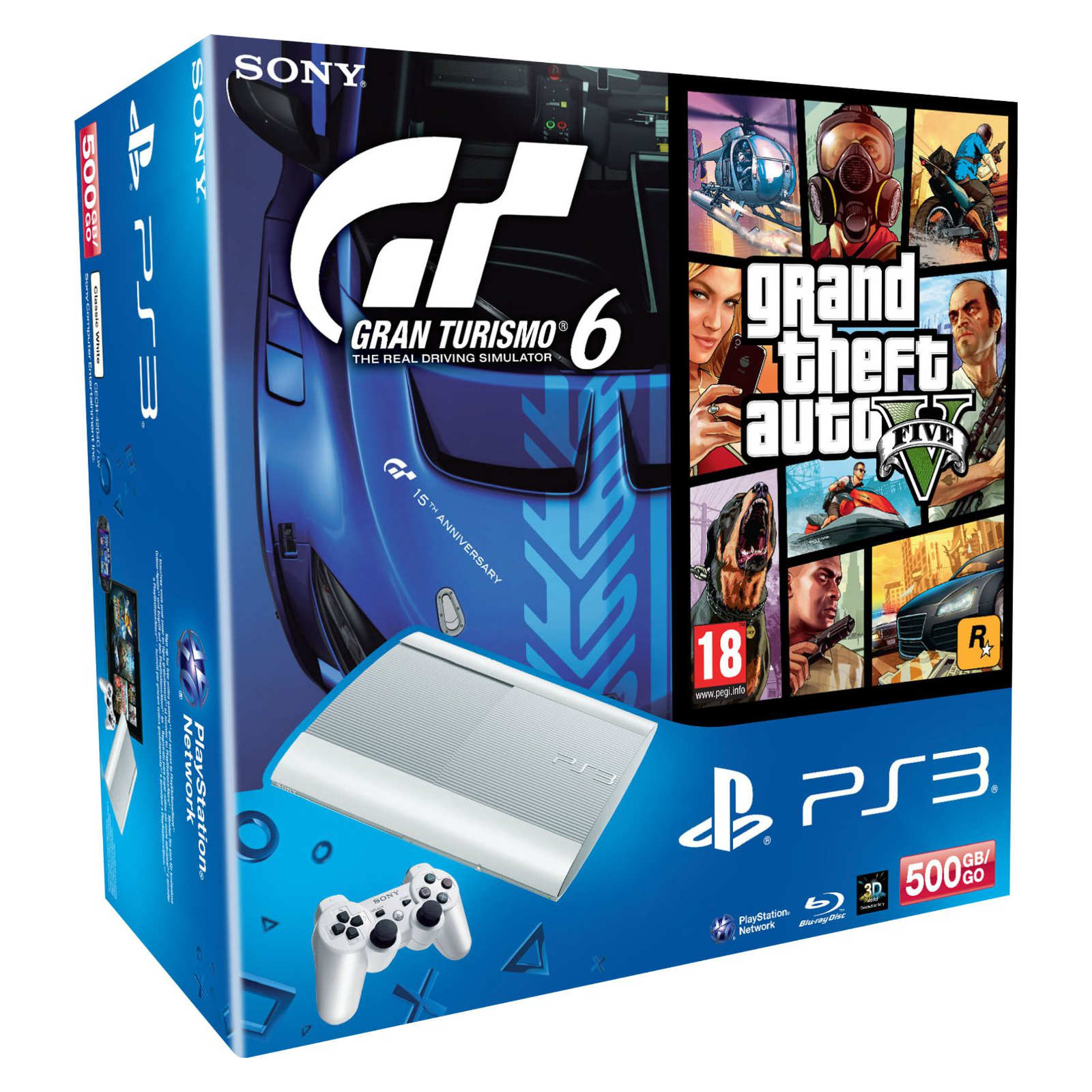 sony playstation 3 ultra slim blanche 500 go gta v gran turismo 6 sony. Black Bedroom Furniture Sets. Home Design Ideas