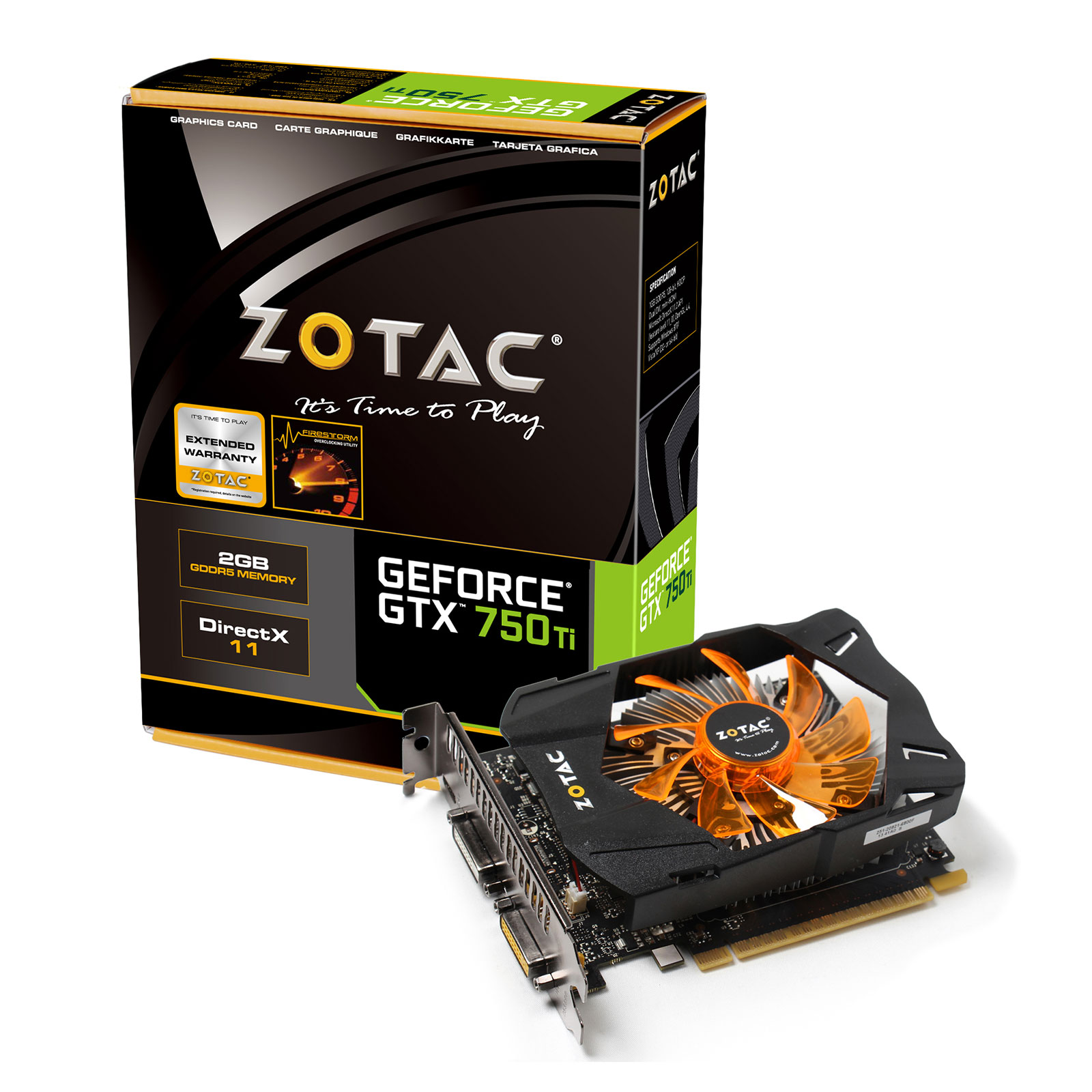 Carte graphique Zotac GeForce GTX 750 Ti 2GB 2048 Mo Dual DVI/Mini-HDMI - PCI Express (NVIDIA GeForce avec CUDA GTX 750 Ti)
