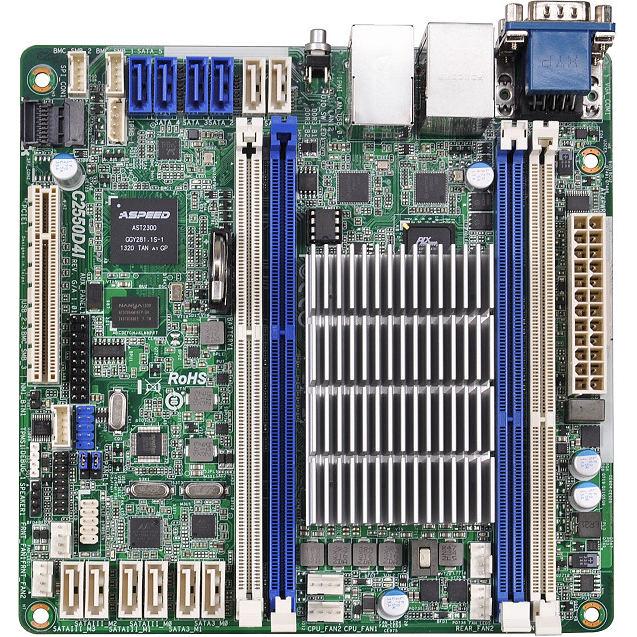 Carte mère ASRock C2550D4I Carte mère Mini ITX avec processeur Intel Atom C2550 - 4x DIMM DDR3 - SATA 6Gb/s - USB 2.0 - 1x PCI-Express 2.0 8x - 2x Gigabit LAN