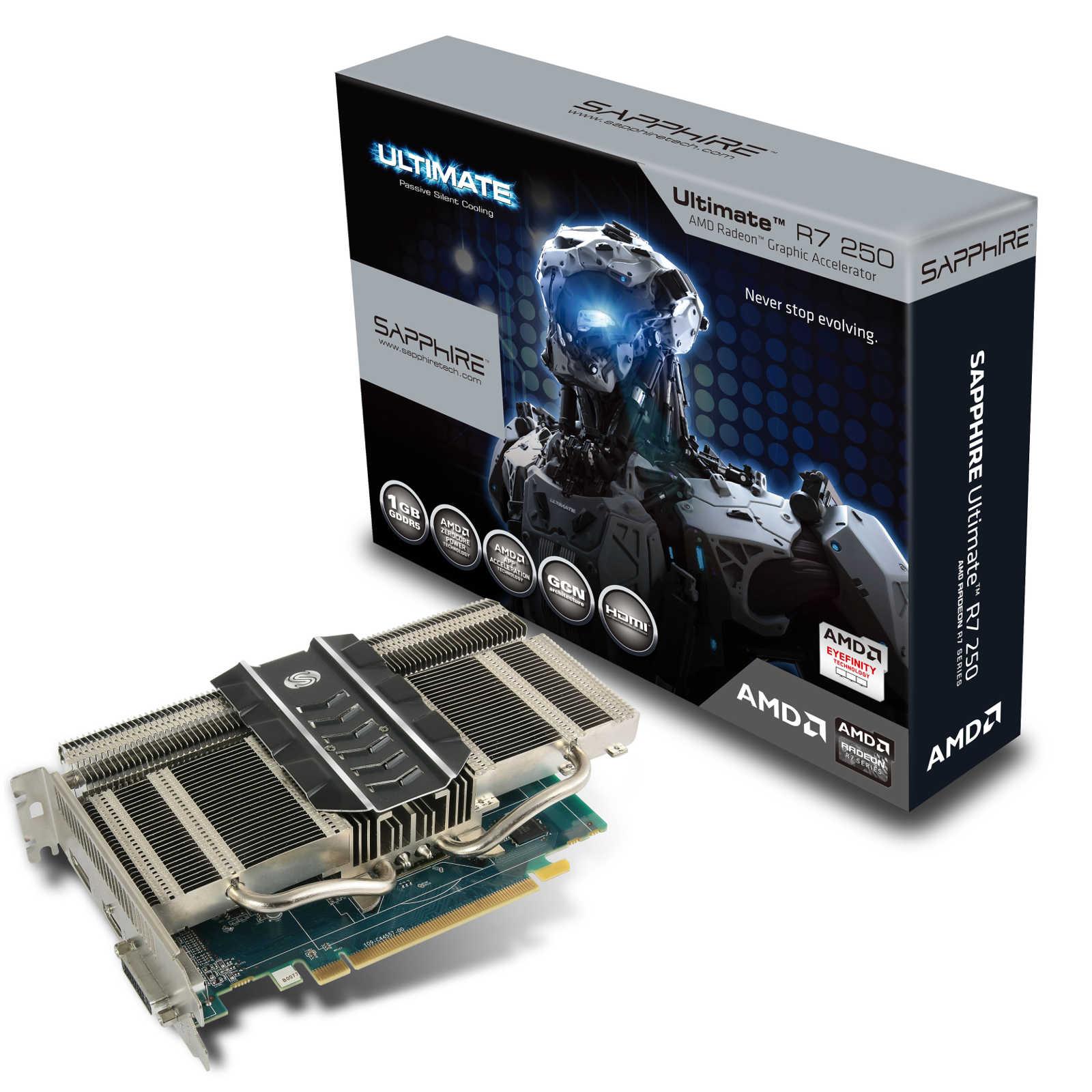 Carte graphique Sapphire Radeon Ultimate R7 250 1G GDDR5 1 Go HDMI/DVI/DisplayPort - PCI Express (AMD Radeon R7 250)