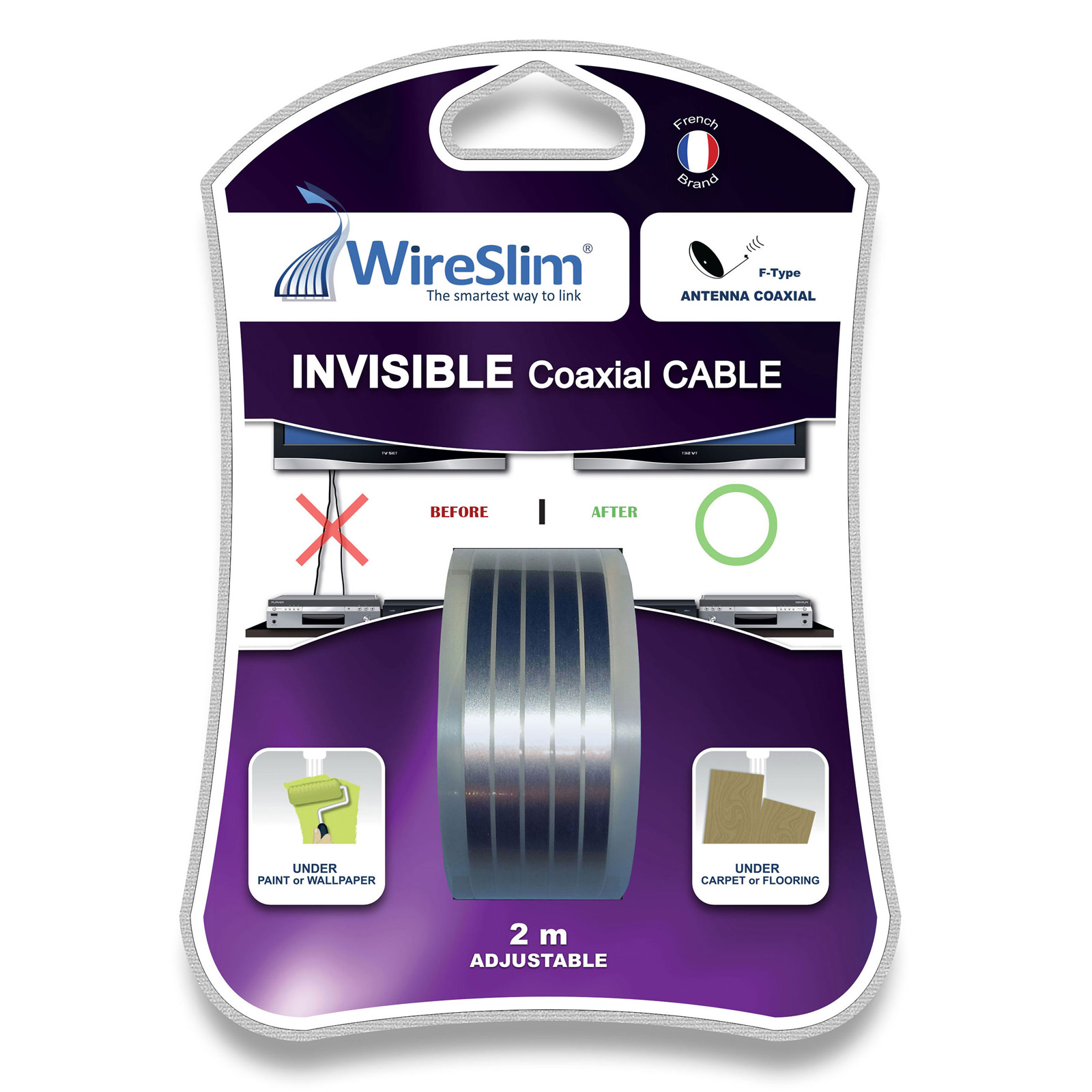 wireslim invisible coaxial cable 2 m tres c ble antenne tv wireslim sur. Black Bedroom Furniture Sets. Home Design Ideas