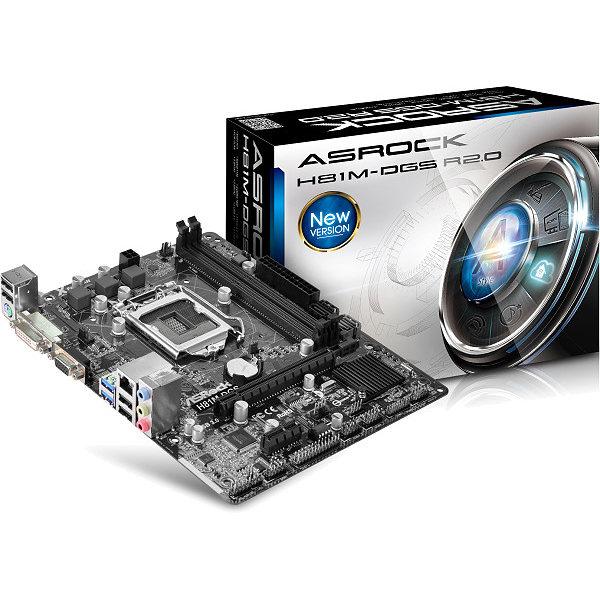 Carte mère ASRock H81M-DGS R2.0 Carte mère Micro ATX Socket 1150 Intel H81 Express - SATA 6Gb/s - USB 3.0 - 1x PCI-Express 2.0 16x