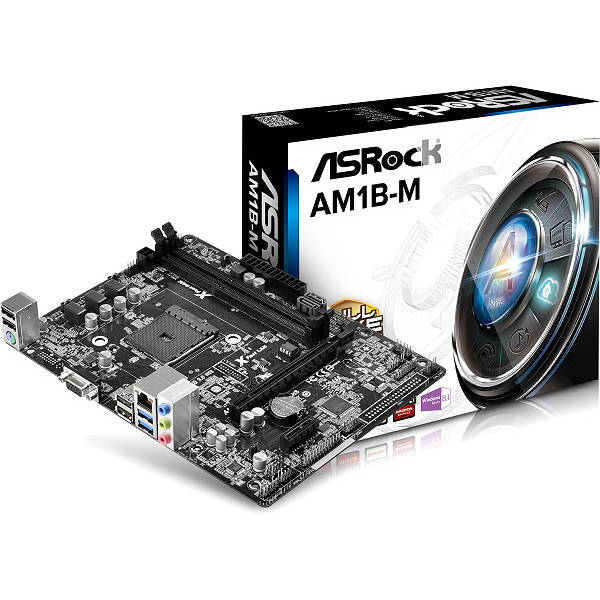 Carte mère ASRock AM1B-M Carte mère Micro ATX Socket AM1 - SATA 6Gb/s - USB 3.0 - 1x PCI Express 2.0 16x
