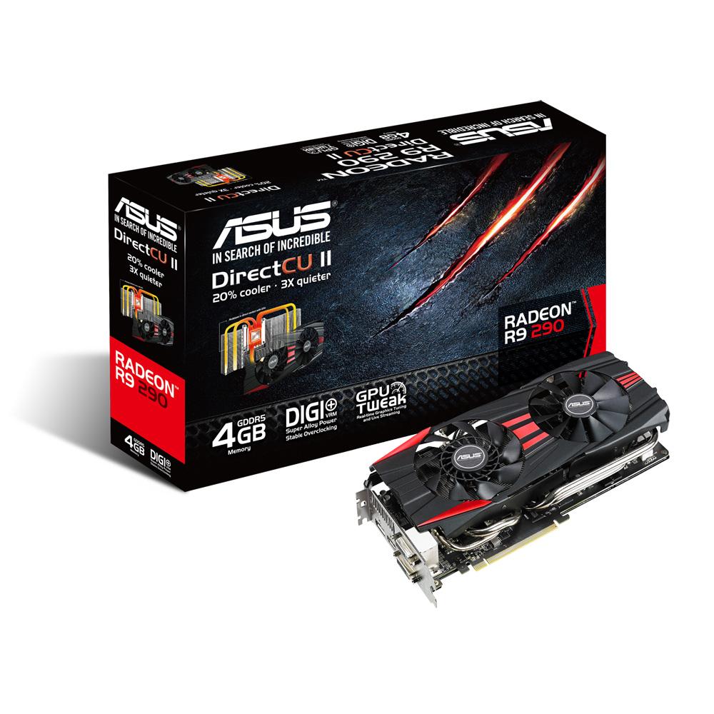 Carte graphique ASUS Radeon R9 290 R9290-DC2-4GD5 4 Go Dual DVI/HDMI/DisplayPort - PCI Express (AMD Radeon R9 290)