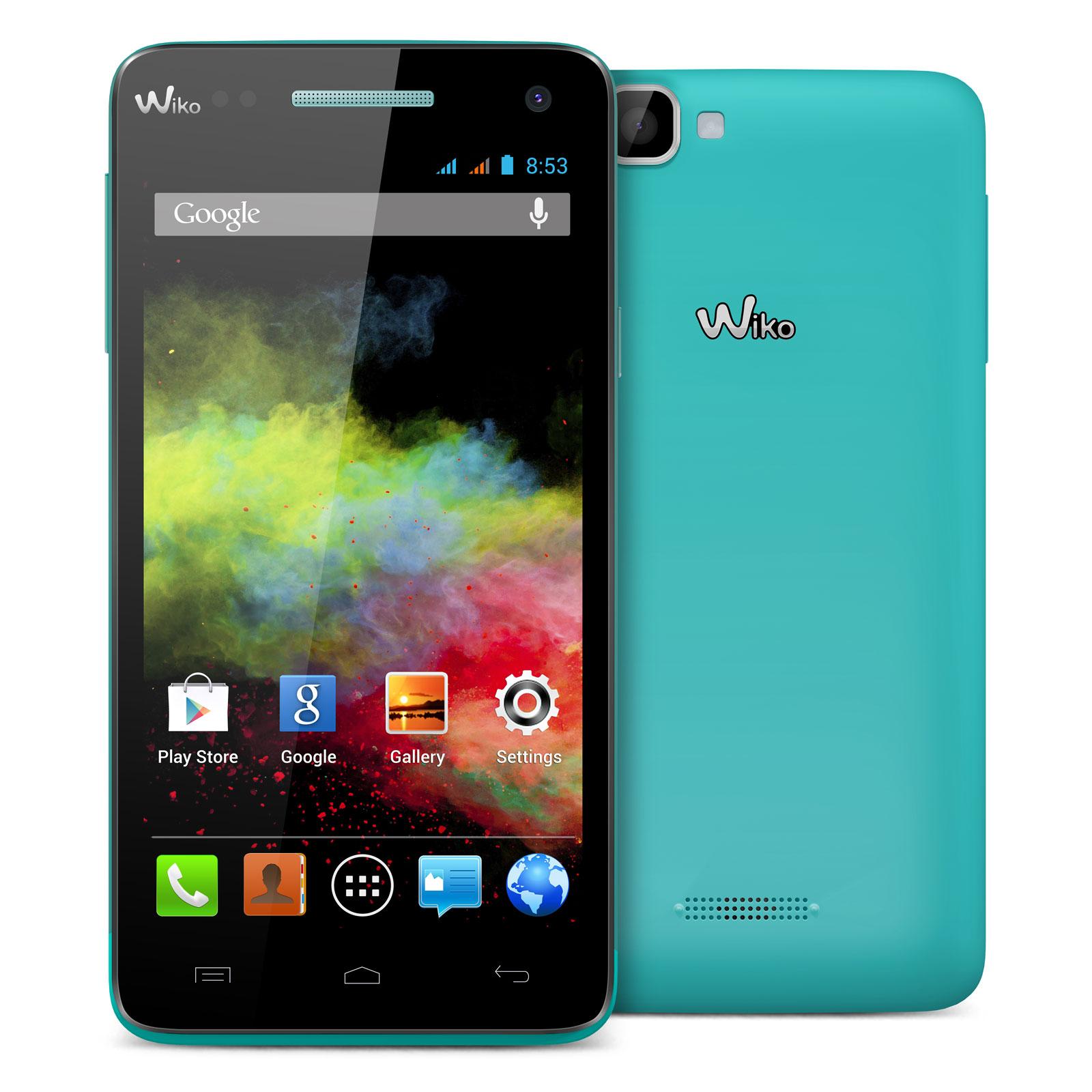 "Mobile & smartphone Wiko Rainbow Turquoise Smartphone 3G+ Dual SIM avec écran tactile HD 5"" sous Android 4.2"