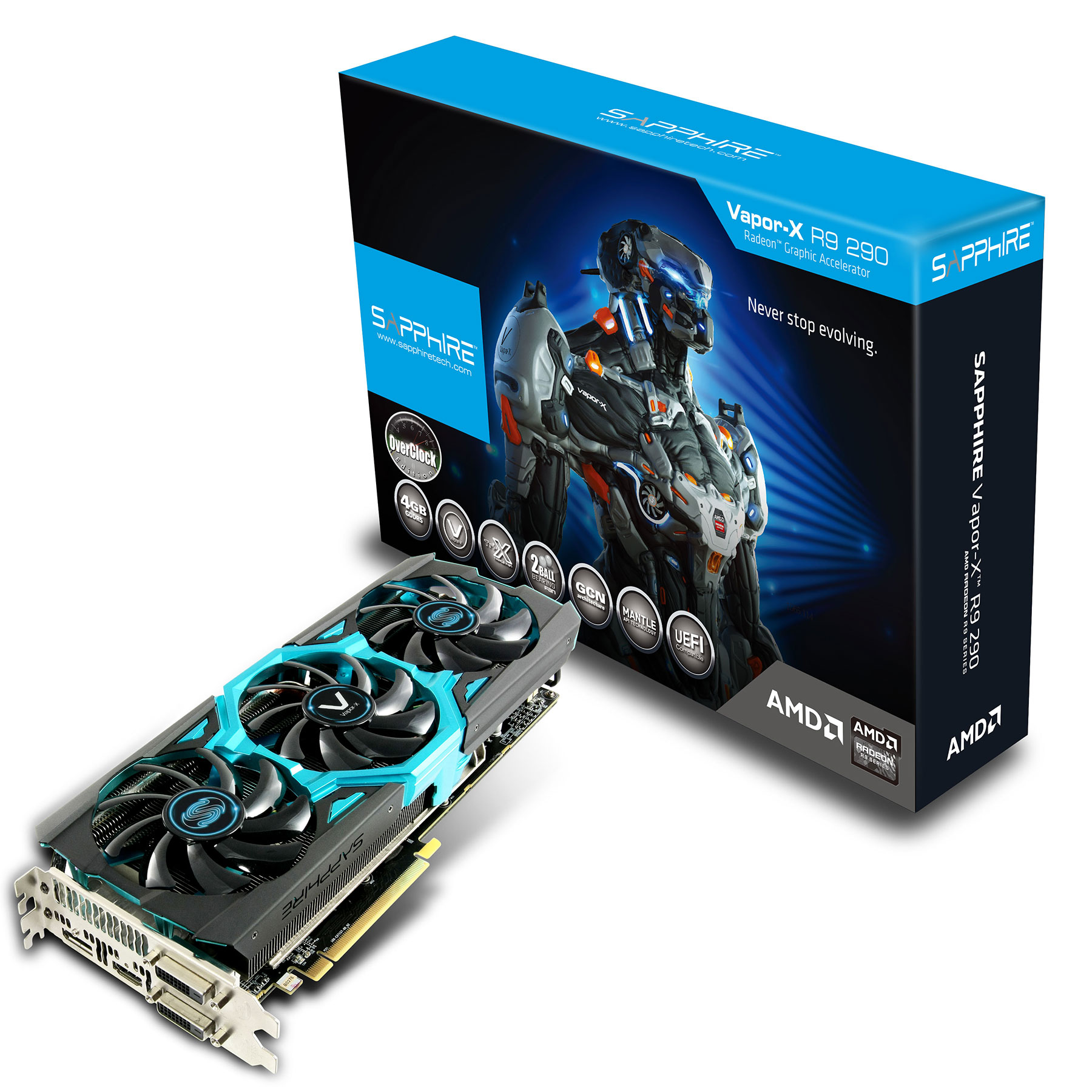 Carte graphique Sapphire Radeon R9 290 Vapor-X 4G GDDR5 Tri-X OC 4 Go Dual DVI/HDMI/DisplayPort - PCI Express (AMD Radeon R9 290)