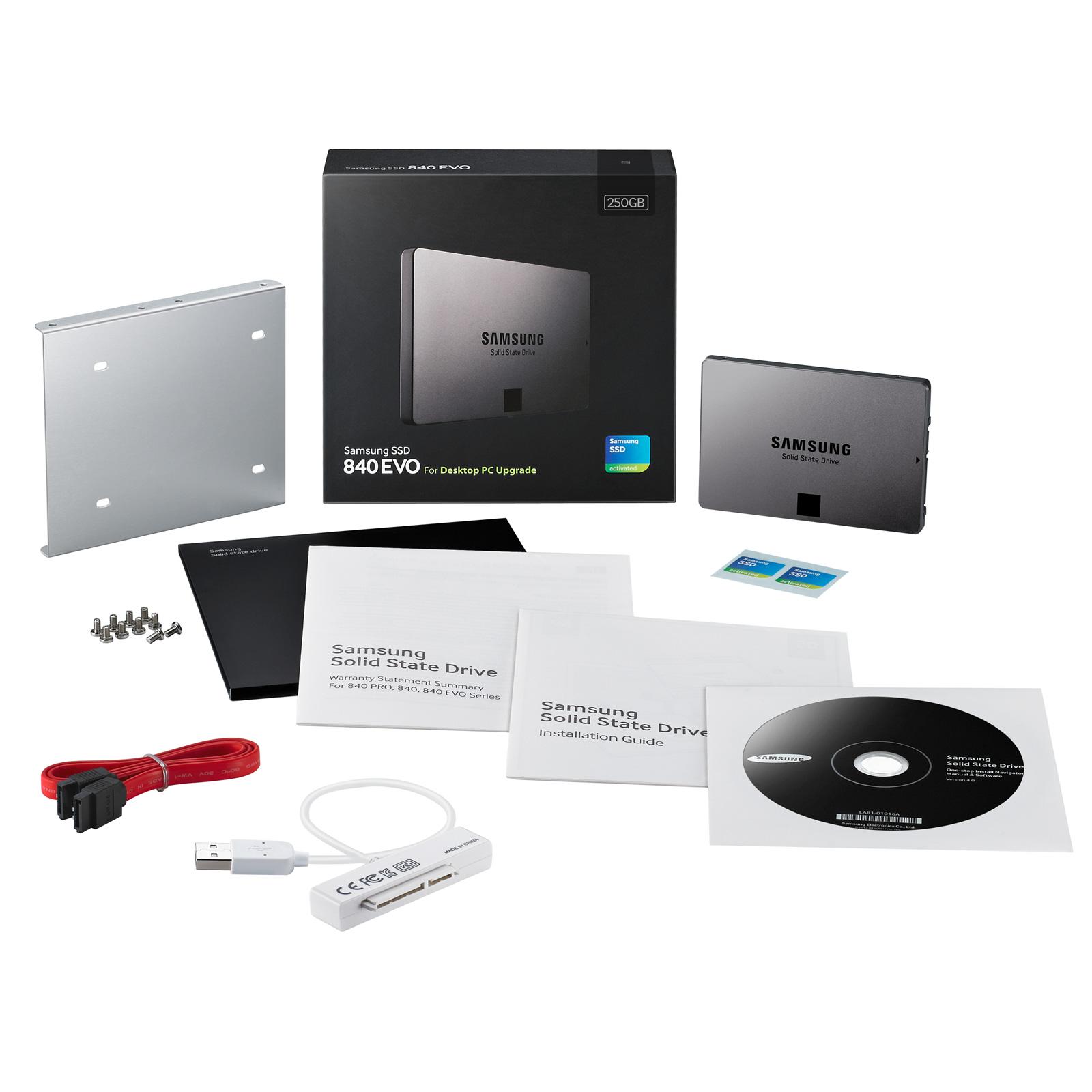samsung ssd 840 evo 250 go desktop kit disque ssd. Black Bedroom Furniture Sets. Home Design Ideas