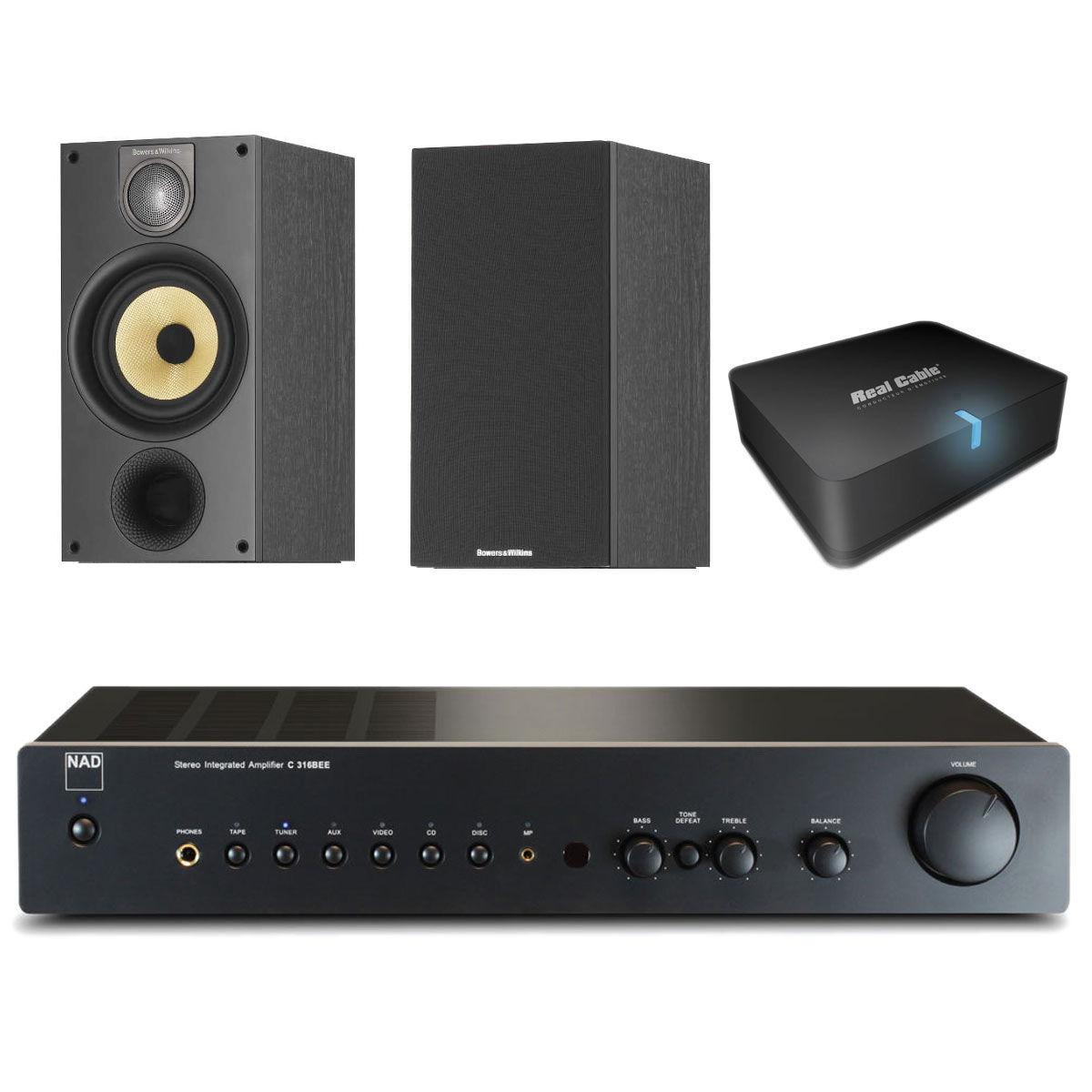 Ensemble Hifi NAD C 316BEE Graphite + B&W 686 S2 Black Ash + Real Cable iPlug-BTR  Amplificateur stéréo intégré 2 x 40 W + Enceinte bibliothèque + Adaptateur Bluetooth APTX pour conversion d'ampli Hi-Fi ou Home-Cinéma en système audio sans fil