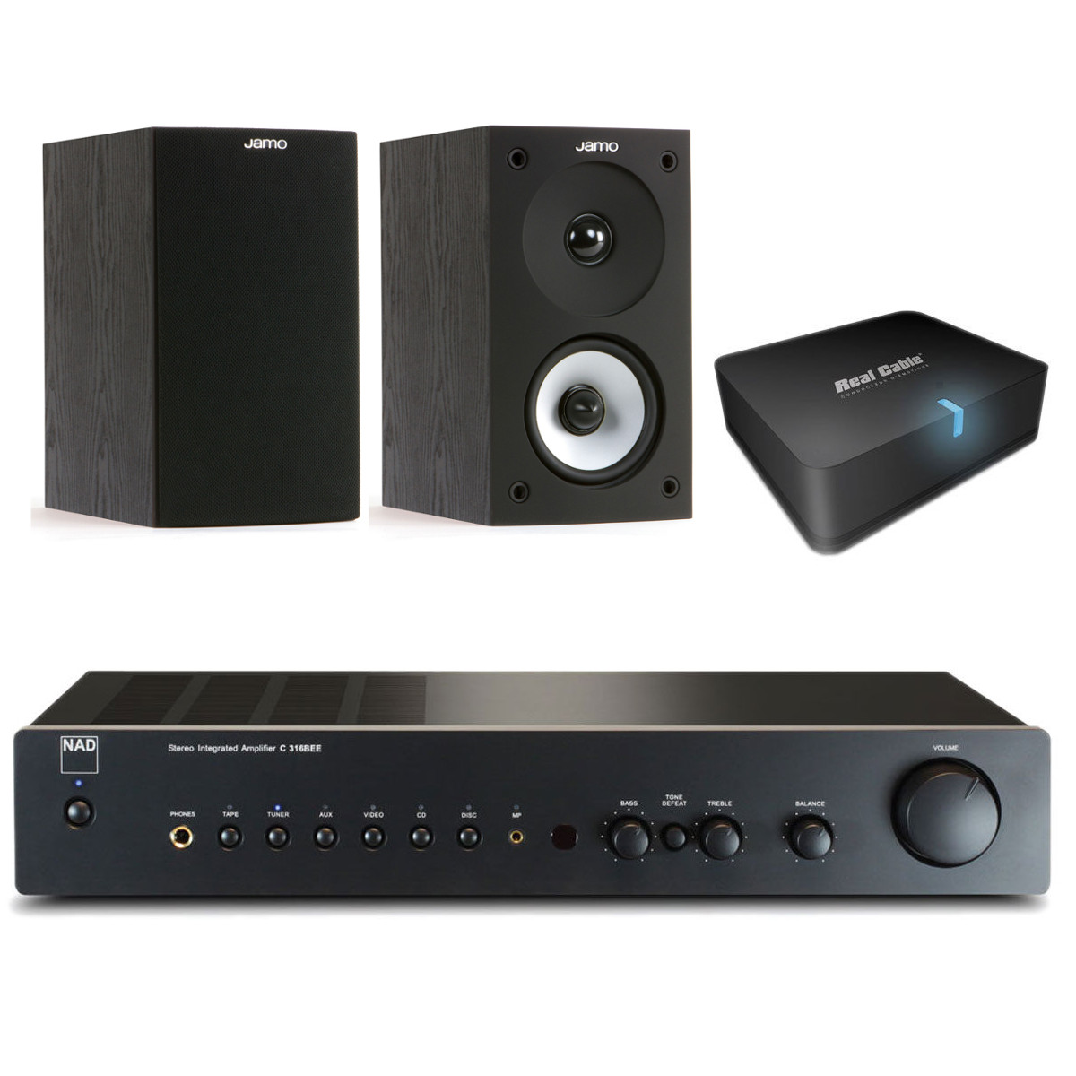Nad C 316bee Graphite Jamo S 622 Black Ash Real Cable Iplug  # Modeles De Meubles Home Cinema Et Bibliotheque