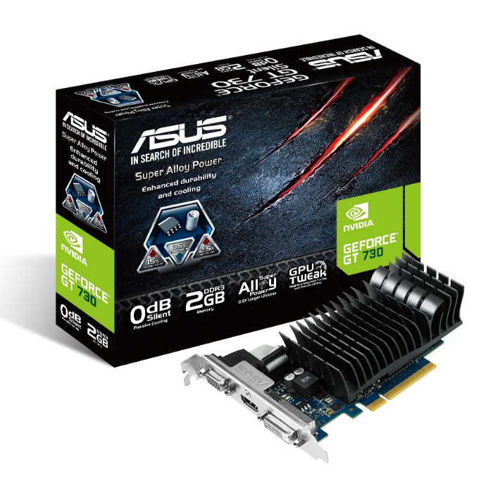 Carte graphique ASUS GT730-SL-2GD3-BRK - GeForce GT 730 2 Go 2 Go HDMI/DVI - PCI Express (NVIDIA GeForce avec CUDA GT 730)