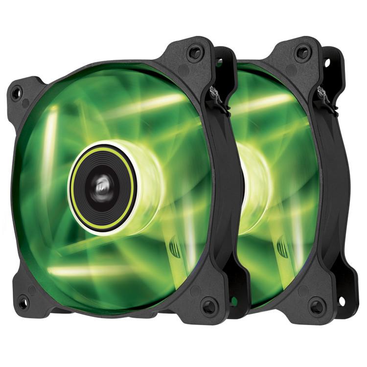 Ventilateur boîtier Corsair Air Series SP120 Green High Static Pressure (par 2) Paire de ventilateurs de boîtier 120 mm avec LEDs vertes