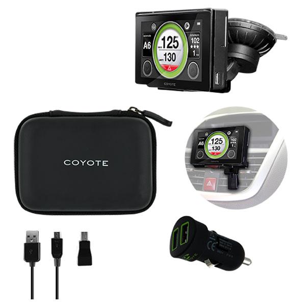 Accessoires GPS Coyote Pack Premium Housse de transport renforcée + Support voiture + Chargeur allume-cigare + Câble micro USB et adaptateur mini USB
