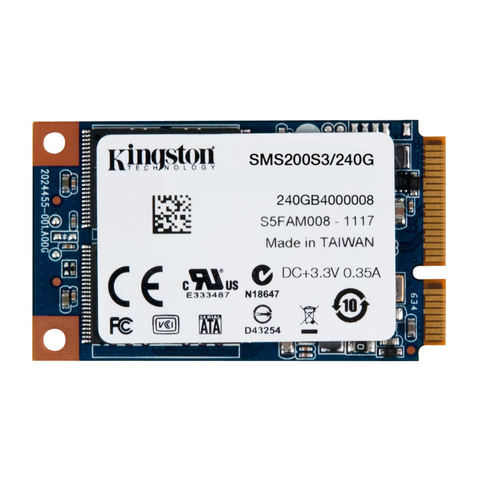 Disque SSD Kingston SSDNow mS200 mSATA 240 Go SSD 240 Go mSATA 6Gb/s