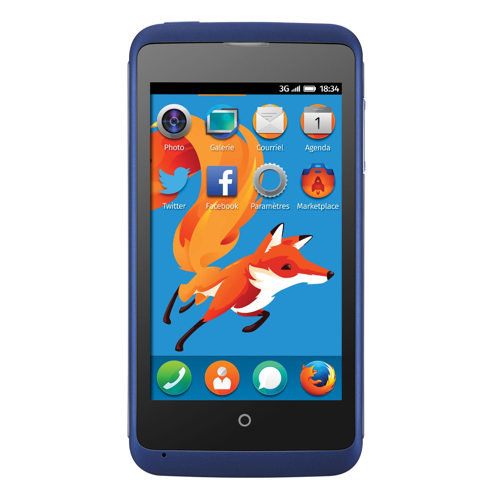 """Mobile & smartphone ZTE Open C Bleu Smartphone 3G+ avec écran tactile 4"""" sous Firefox OS 1.3"""