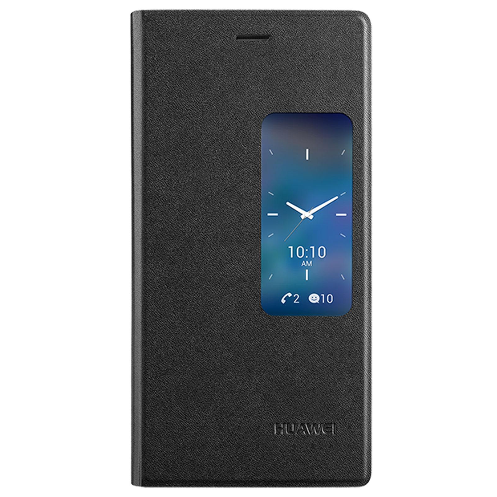 Huawei etui flip case avec fen tre pour ascend p7 noir for Fenetre zoom iphone x