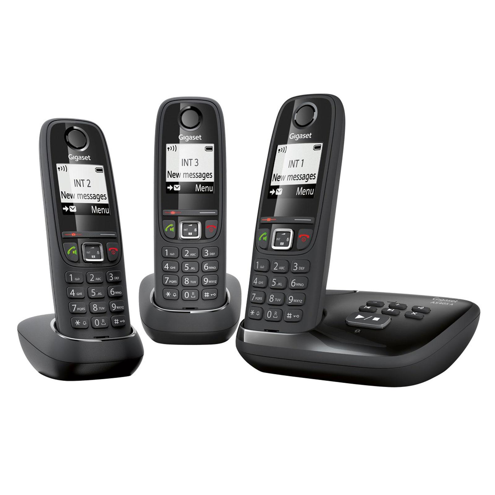 Gigaset as405a trio noir t l phone sans fil gigaset sur for Telephone interieur sans fil