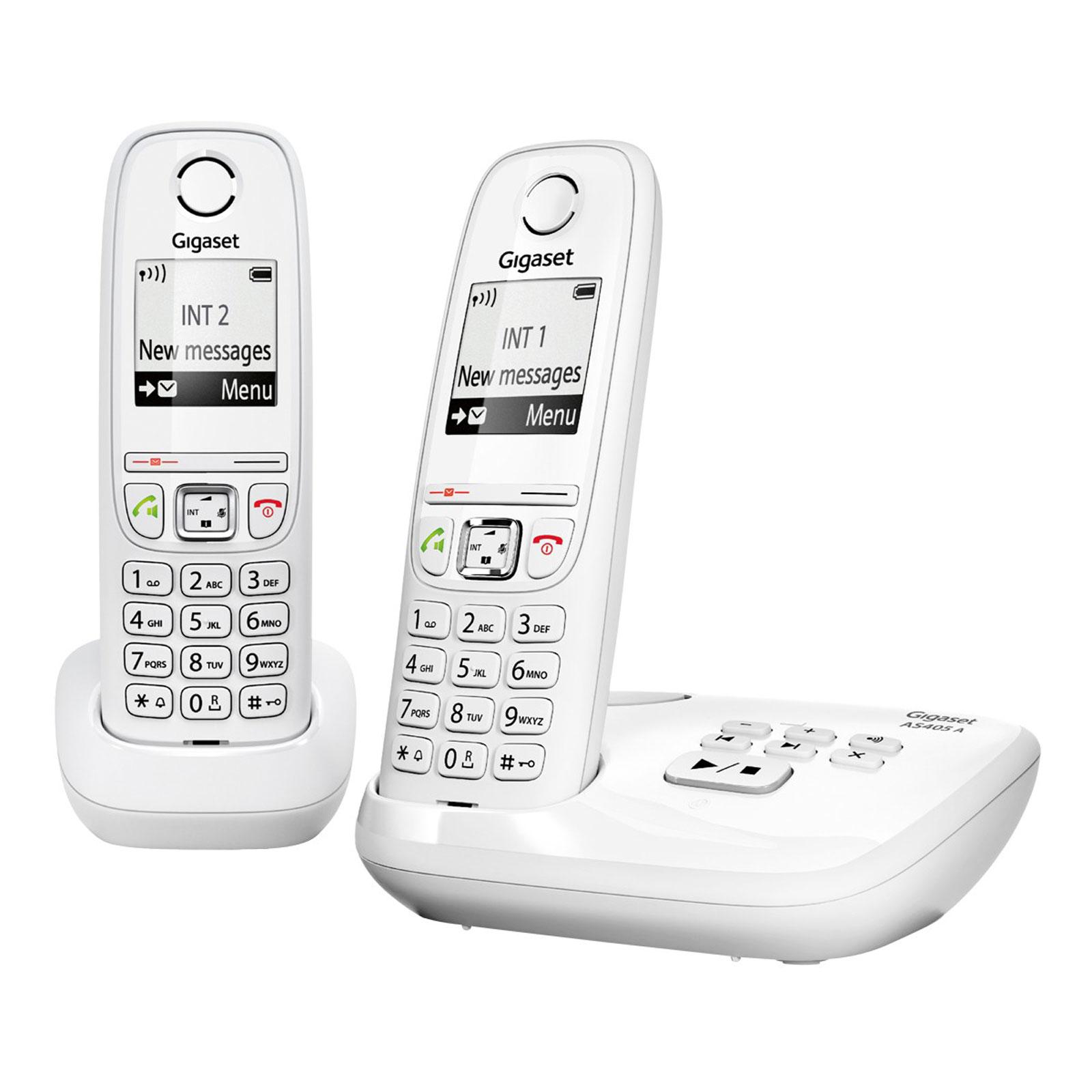 45055870ef9b5a Gigaset AS405A Duo Blanc Téléphone sans fil avec 1 combiné supplémentaire  et répondeur
