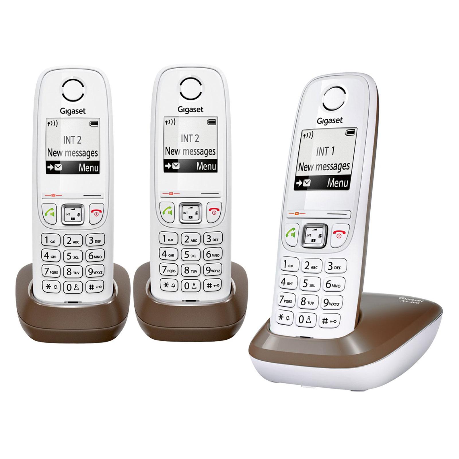 gigaset as405 trio chocolat t l phone sans fil gigaset. Black Bedroom Furniture Sets. Home Design Ideas