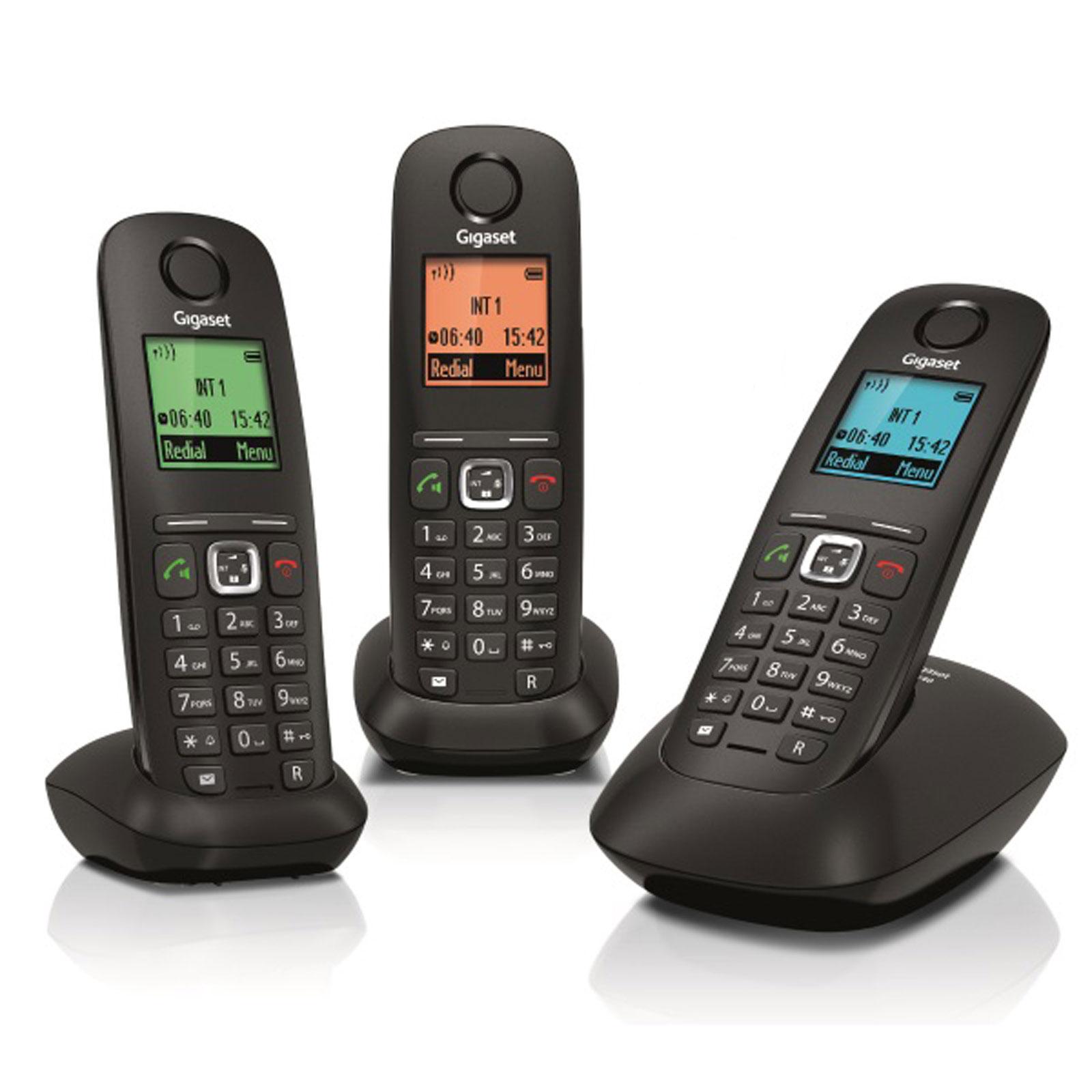 Téléphone sans fil Gigaset A540 Trio Noir Téléphone sans fil DECT avec 2 combinés supplémentaires - Ecran 4 couleurs (version française)