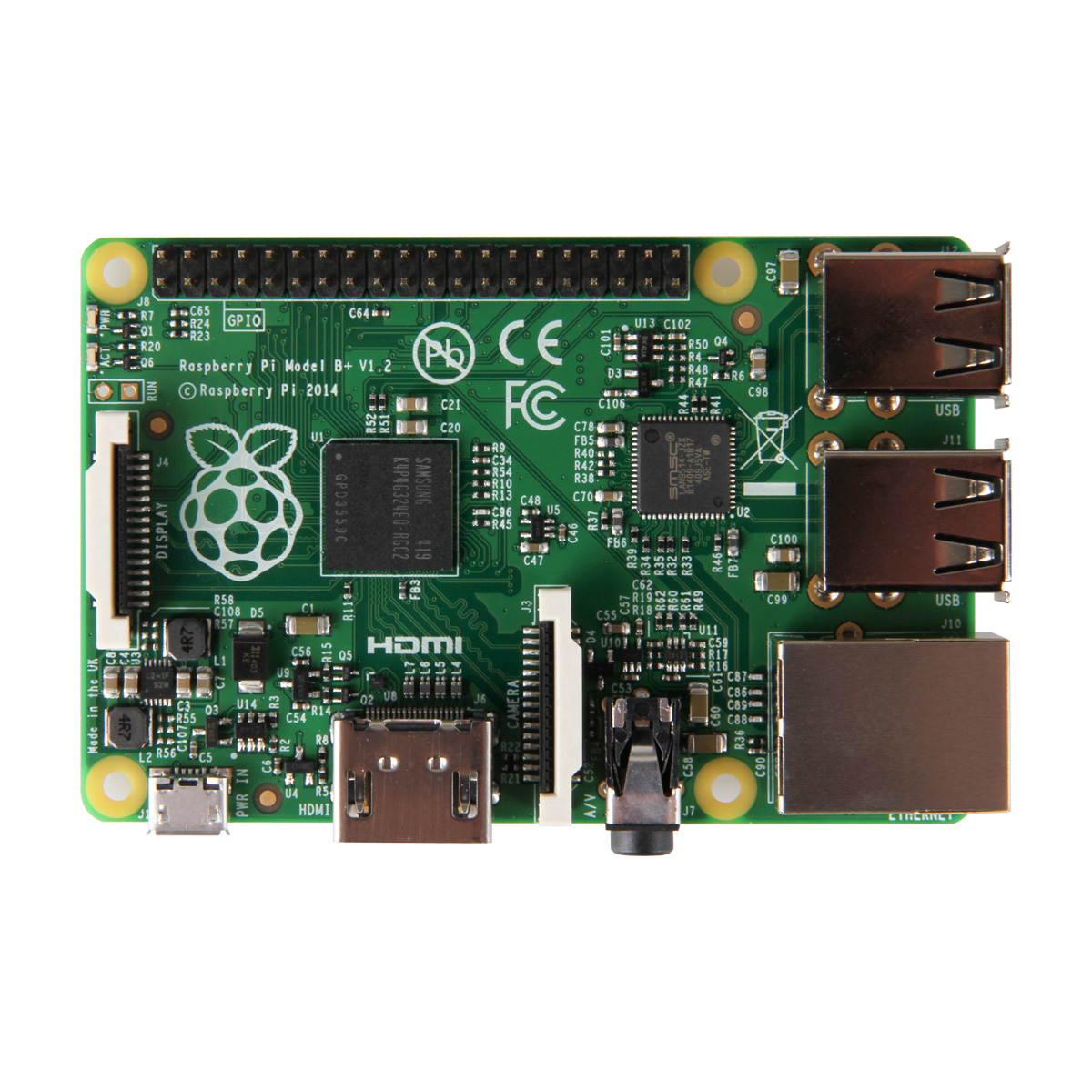 Carte mère Raspberry Pi Model B+ Carte mère avec processeur ARM1176VZF-S core  - RAM 512 Mo - VideoCore IV - RJ45 - HDMI - 4x USB 2.0