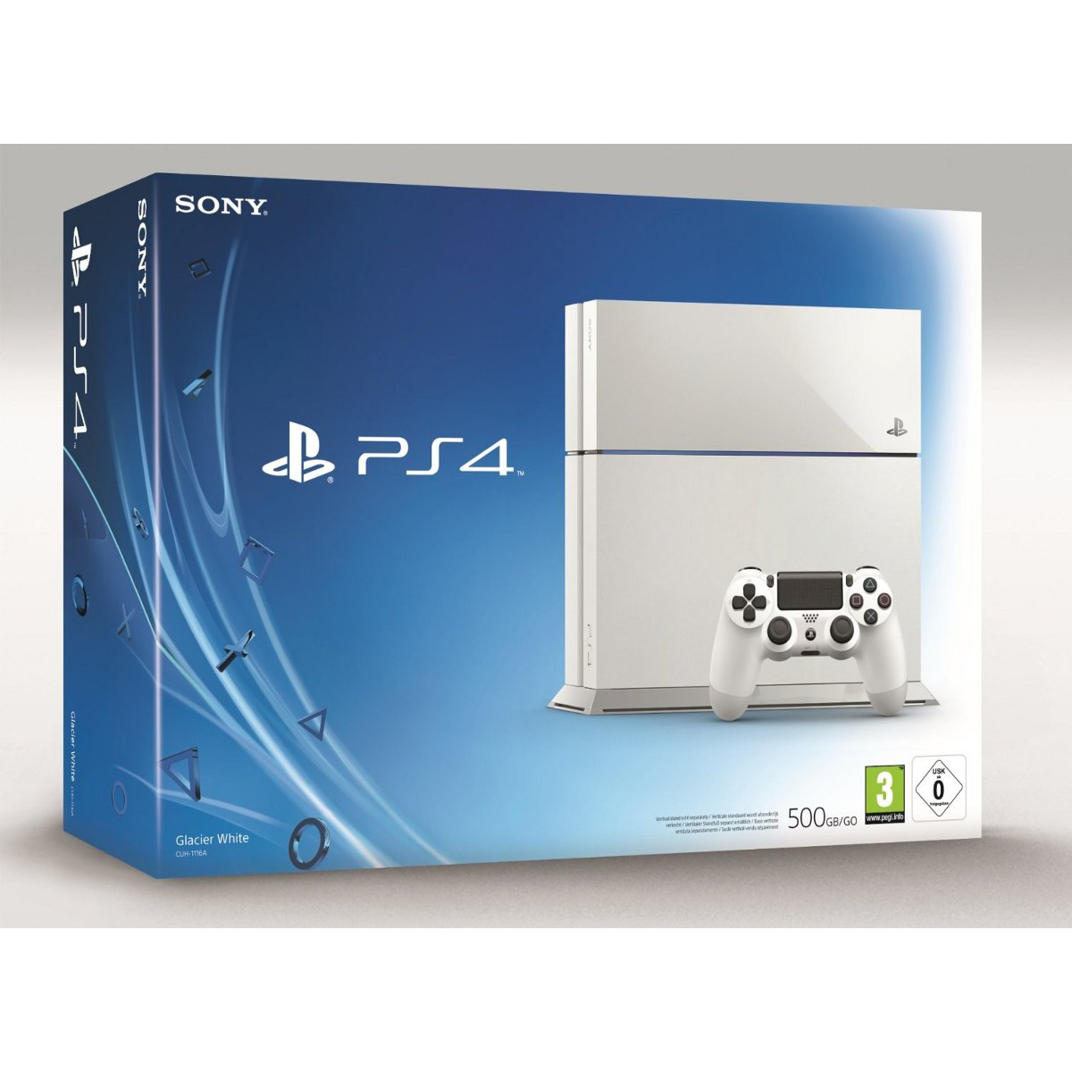 sony playstation 4 blanche console ps4 sony. Black Bedroom Furniture Sets. Home Design Ideas