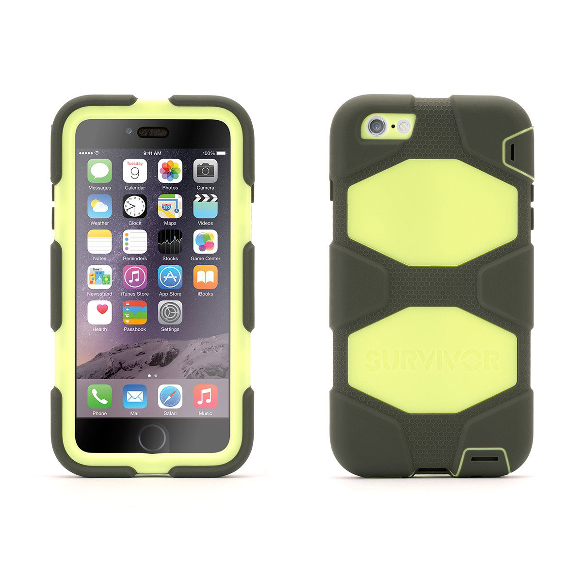 Etui téléphone Griffin Survivor All Terrain Gris/Lime Apple iPhone 6 Plus Coque ultra-résistante pour iPhone 6 Plus