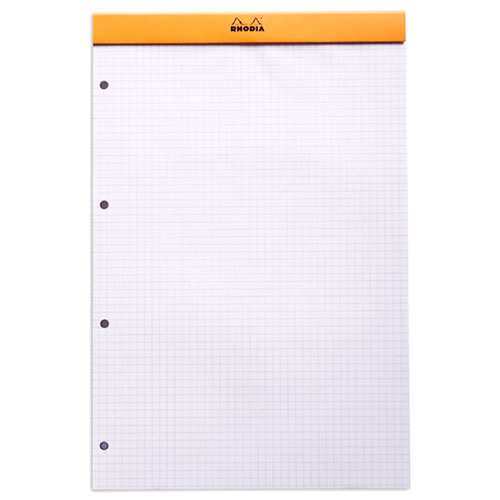 Rhodia bloc n 20 orange agraf en t te 21 x 31 8 cm petits carreaux 5 x 5 mm 160 pages perfor es - Telecharger un bloc note pour le bureau ...