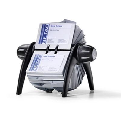 Porte Carte De Visite Durable Visilfix Flip Fichier Rotatif Pour Cartes Noir