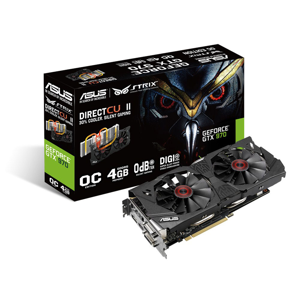 Carte graphique ASUS STRIX GTX970-DC2OC-4GD5 - GeForce GTX 970 4 Go 4096 Mo Dual DVI/HDMI/DisplayPort - PCI Express (NVIDIA GeForce avec CUDA GTX 970)