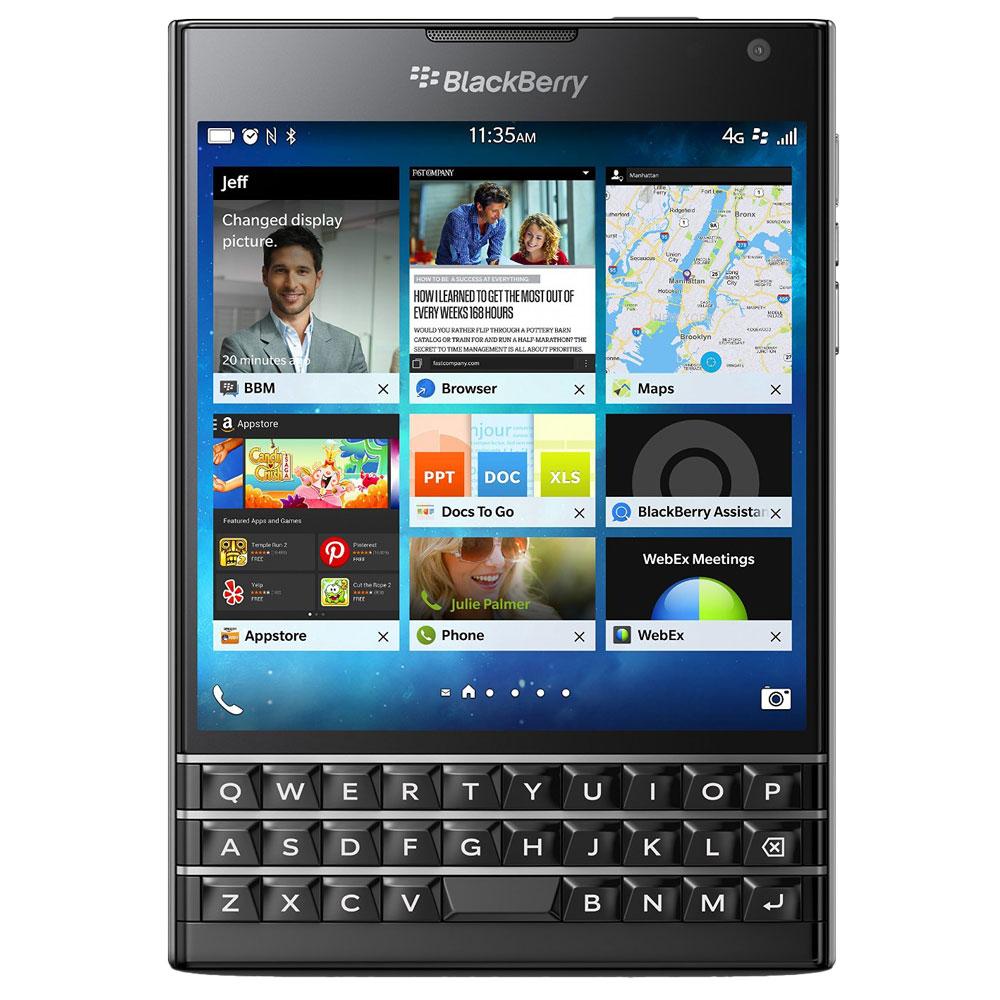 """Mobile & smartphone BlackBerry Passport QWERTZ Noir Smartphone 4G-LTE à clavier QWERTZ avec écran tactile 4.5"""" sous BlackBerry OS 10.3"""