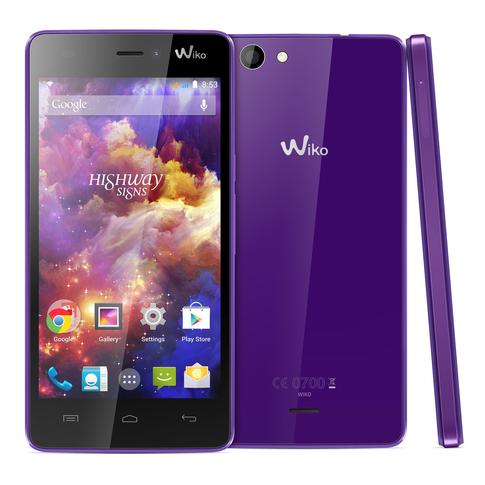 """Mobile & smartphone Wiko Highway Signs Violet Smartphone 3G+ Dual SIM - ARM Cortex-A7 8-Core 1.4 GHz - RAM 1 Go - Ecran tactile 4.7"""" 720 x 1280 - 8 Go - Bluetooth 4.0 - 2000 mAh - Android 4.4"""