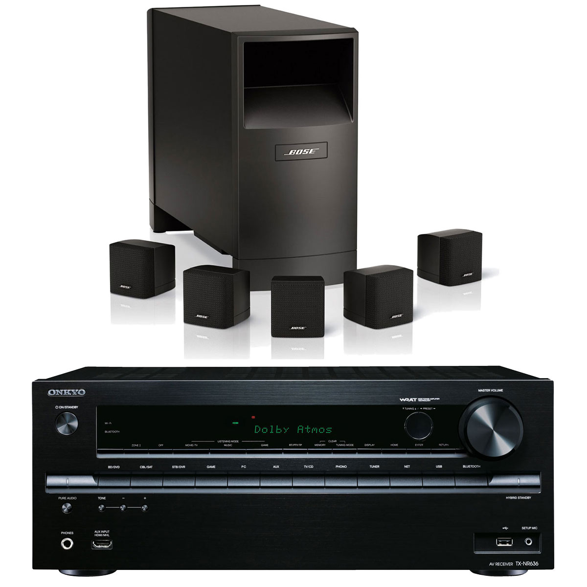 onkyo tx nr636 noir bose acoustimass 6 noir ensemble. Black Bedroom Furniture Sets. Home Design Ideas