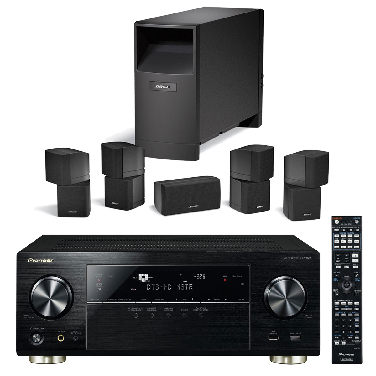 pioneer vsx 924 k noir bose acoustimass 10 noir ensemble home cin ma pioneer sur. Black Bedroom Furniture Sets. Home Design Ideas