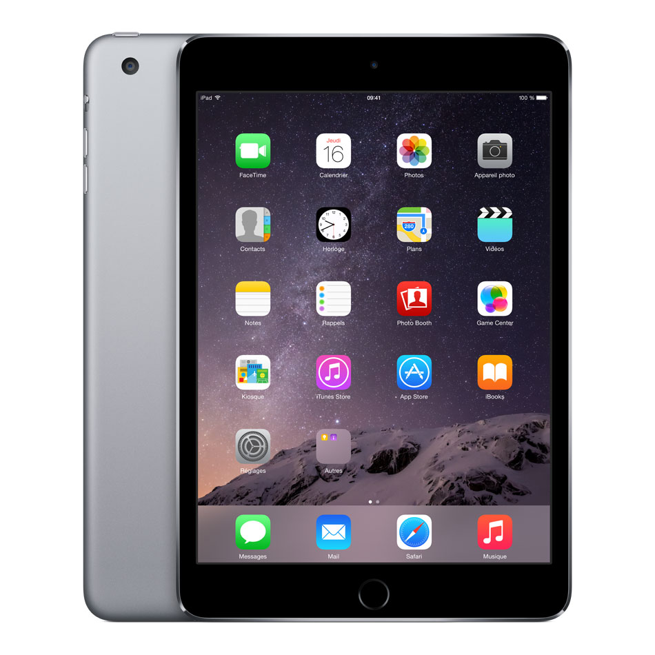 apple ipad mini 3 avec cran retina wi fi 64 go gris sid ral tablette tactile apple sur. Black Bedroom Furniture Sets. Home Design Ideas
