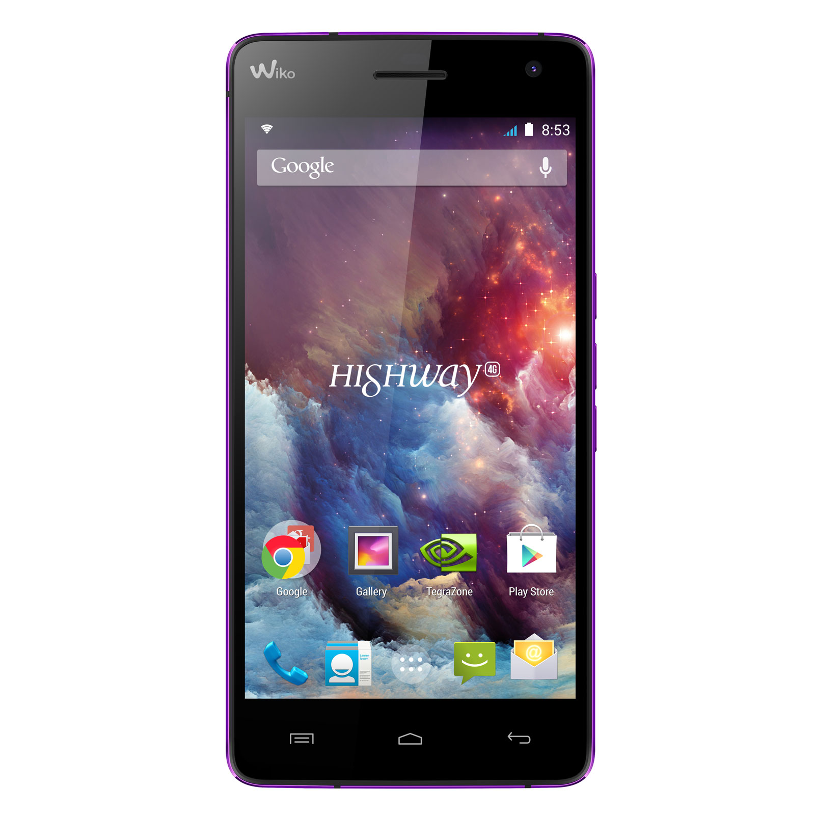 "Mobile & smartphone Wiko Highway 4G Violet Smartphone 4G-LTE - NVIDIA Tegra 4i Quad-Core 2 GHz - RAM 2 Go - Ecran tactile 5"" 1080 x 1920 - 16 Go - Bluetooth 4.0 - 2350 mAh - Android 4.4"