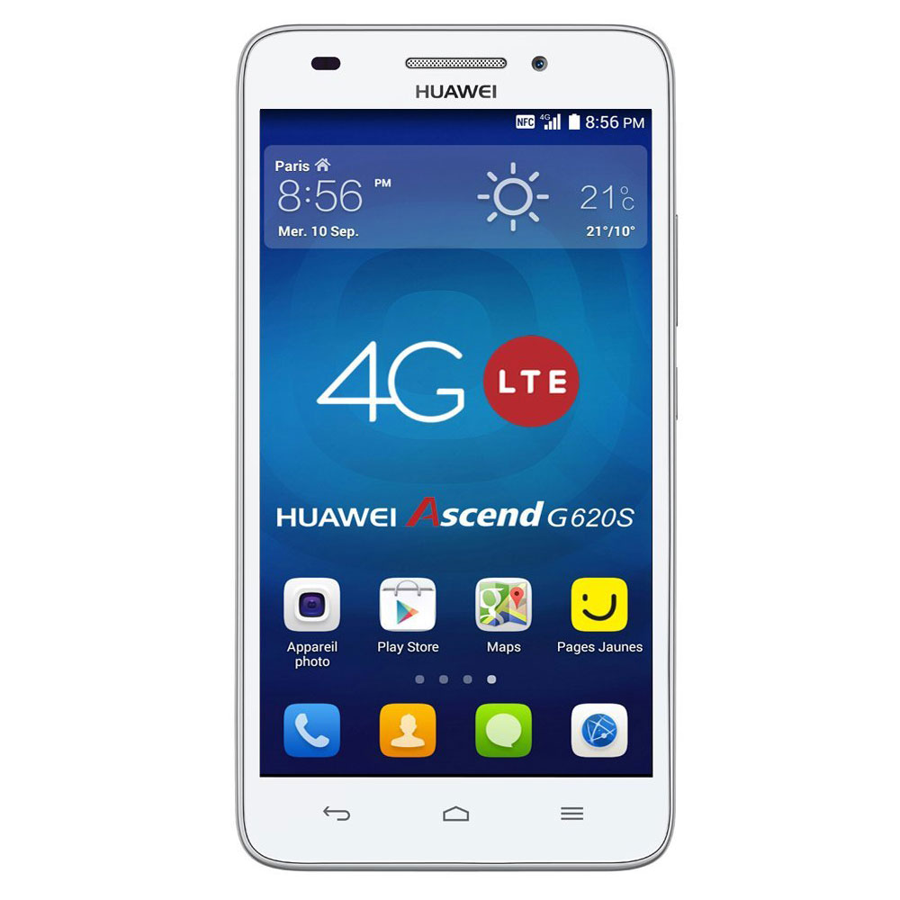 "Mobile & smartphone Huawei Ascend G620s Blanc Smartphone 4G-LTE avec écran tactile HD 5"" sous Android 4.4"