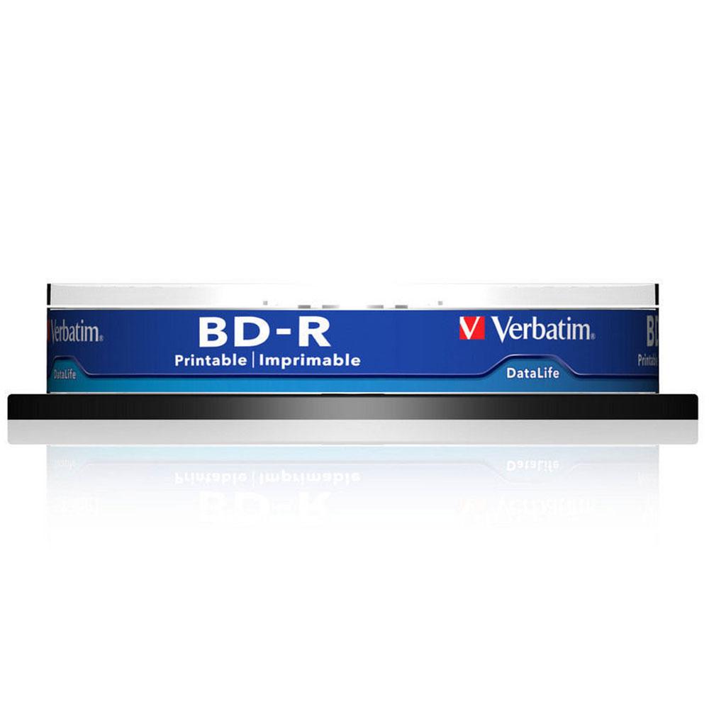 Blu-ray Verbatim BD-R SL 25 Go vitesse 6x imprimable (par 10, spindle) Pack de 10 BD-R SL 25 Go certifié 6x avec une surface blanche imprimable