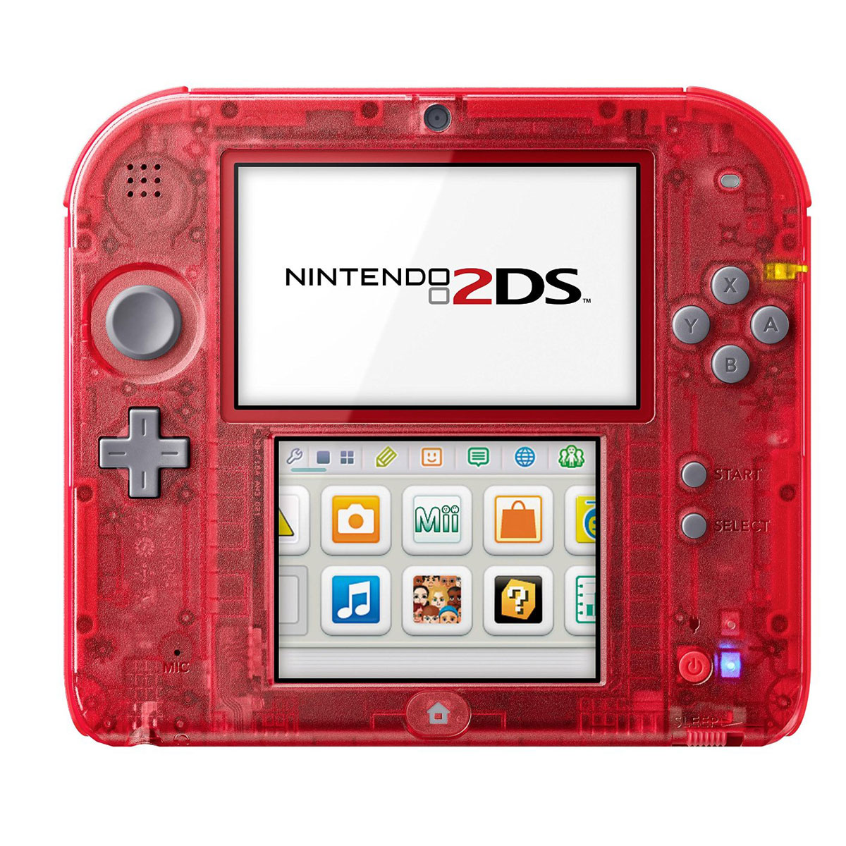 nintendo 2ds rouge transparent console de jeux nintendo sur. Black Bedroom Furniture Sets. Home Design Ideas