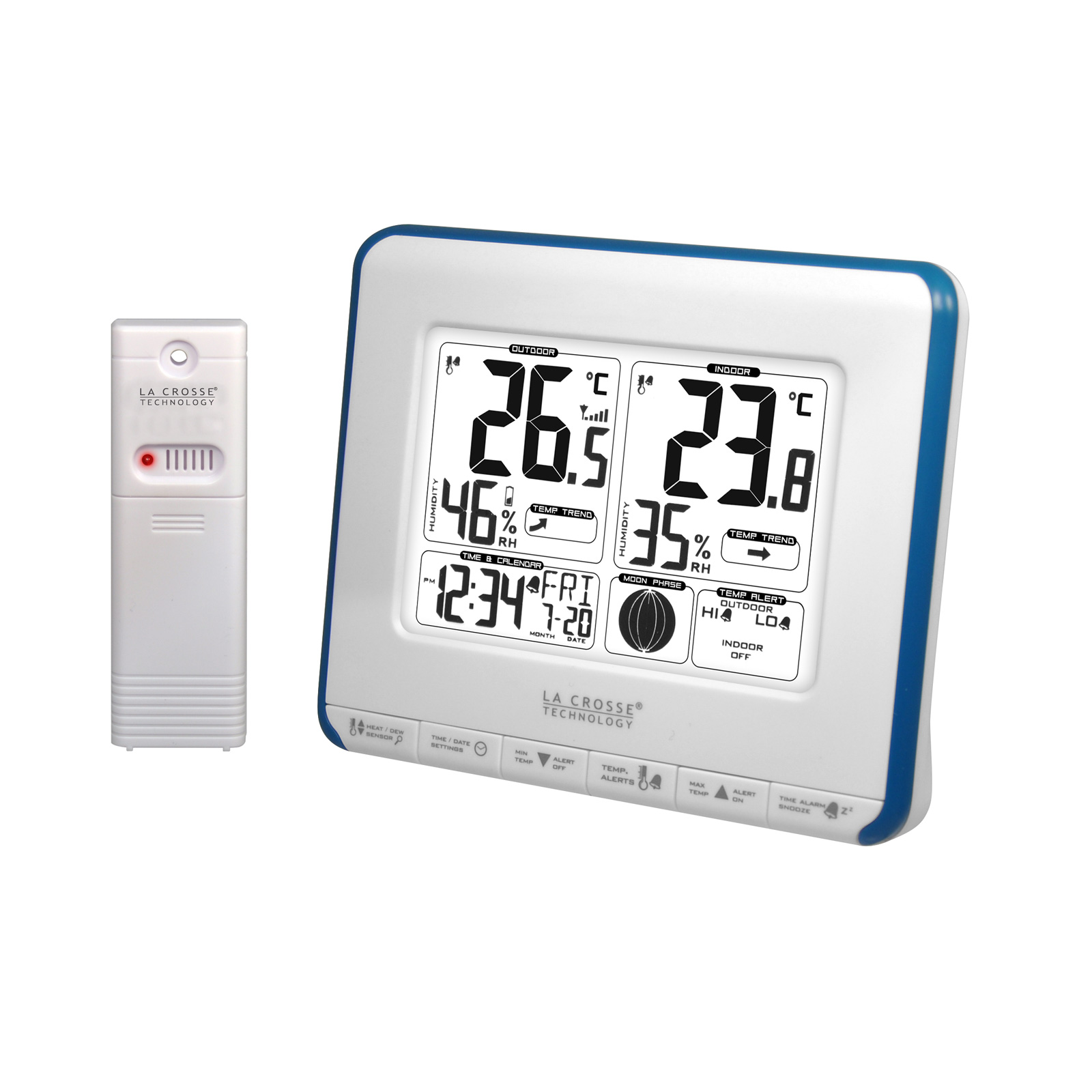 La crosse technology ws6812 bleu station m t o la crosse for Station meteo temperature interieure et exterieure