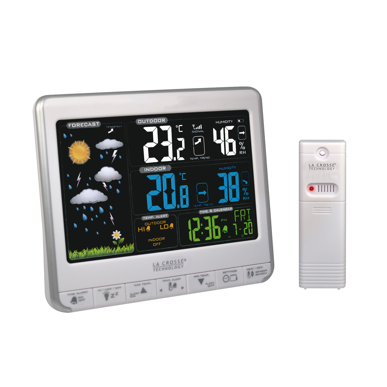 La crosse technology ws6826whi sil station m t o la for Station meteo temperature interieure et exterieure